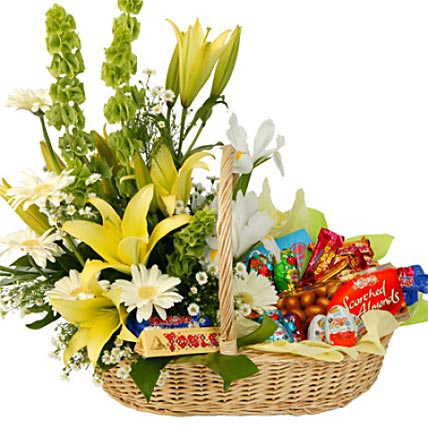 Basket of Assorted Flowers and Chocolates