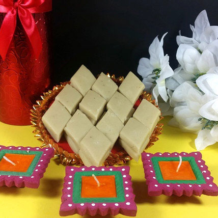 Kaju Burfi and Traditional Diyas