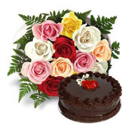 Dozen Multi Roses with Cake