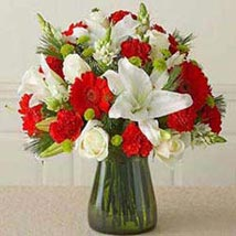 Red n white Vass arrangement  CIN: Gifts to China
