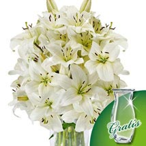 10 white lilies in a bunch: Christmas Flowers to Germany