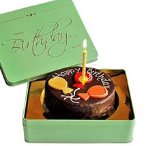 Dessert Sacher cake Happy Birthday with candle: Send Birthday Cakes to Hamburg