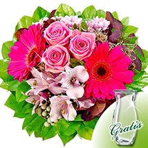Flower Bouquet Ambiente with vase: Flowers & Chocolates to Germany