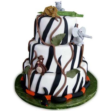 Animals on Zebra Striped Cake 4kg