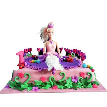 Barbie Floral Garden Cake 3kg Eggless