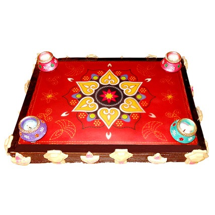 Beautiful Rangoli Chocolate Cake 2kg Eggless