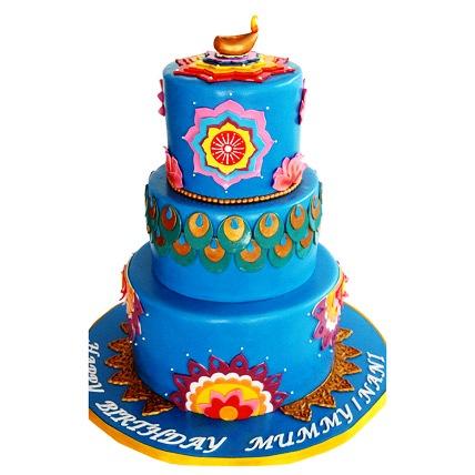 Blue Deepavali Cake 5kg Eggless