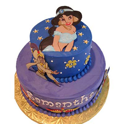 Bright cake with Aladdin Jasmine pictures 3kg Eggless