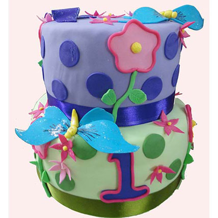 Butterfly And Flower Cake 5kg Eggless