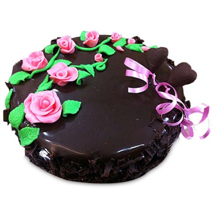 Chocolate Cake With Pink Roses 1kg Eggless