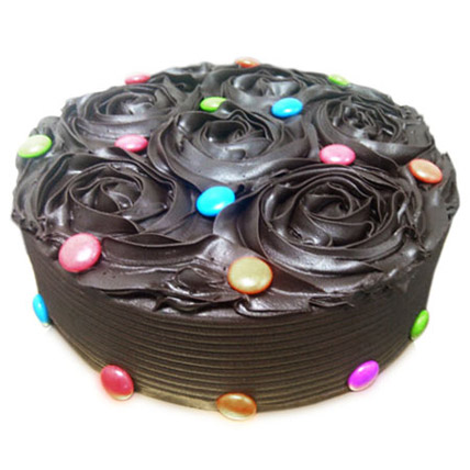 Chocolate Flower Cake Half kg Eggless