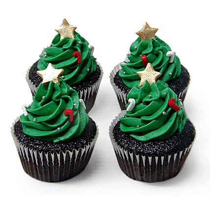 Christmas Tree Cupcakes 24 Eggless