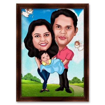 Couple with Baby Caricature