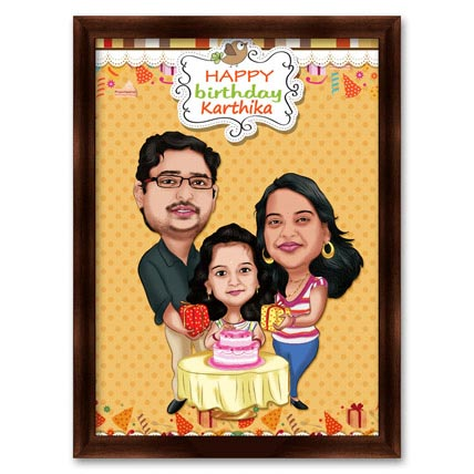 Couple with Daughter 3D Caricature
