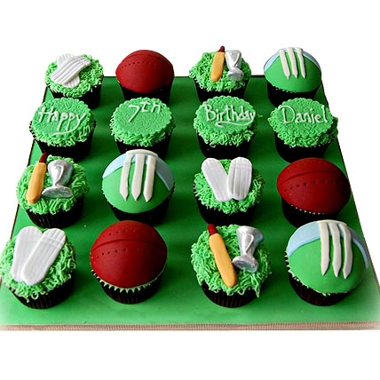 Cricket Mania Cupcake 6 Eggless