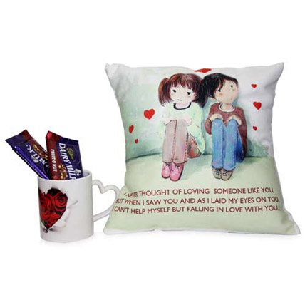 Cute Couple Printed Cushion Hamper