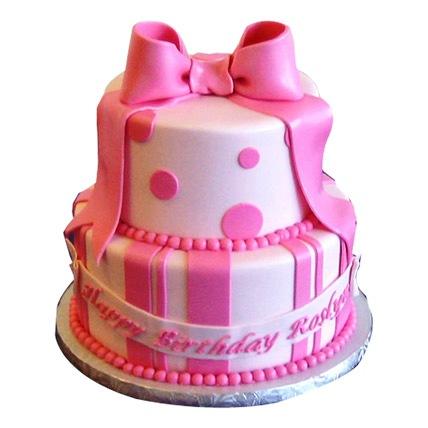 Cute Pink Gift Cake 5kg Eggless