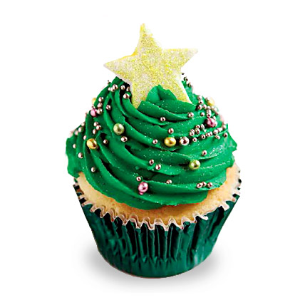 Decorative Christmas Tree Cupcakes 24 Eggless