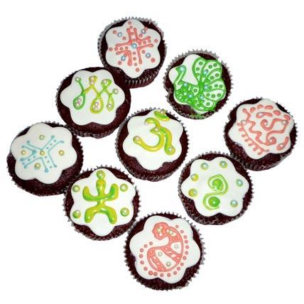 Designer Om Cupcakes 24 Eggless
