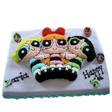 Flavorful Powerpuff Girls Cake 4kg Eggless