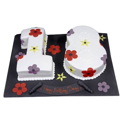 Flowery 18th Cake 3kg Eggless