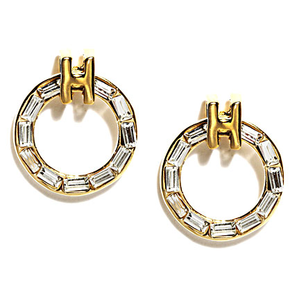 Gold Plated Round Shaped Studded Earrings