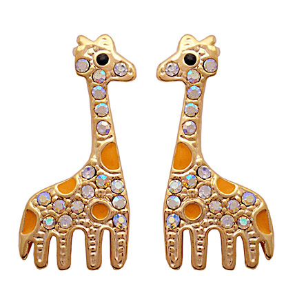 Golden Peacock gold plated giraffe shaped earrings