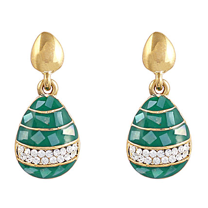 Golden Peacock Green and Gold Plated Drop Earrings
