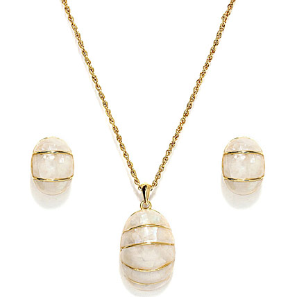 Golden Peacock Natural Shell Style Jewelry Set