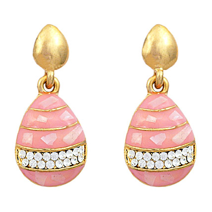 Golden Peacock Pink and Gold Plated Drop Earrings