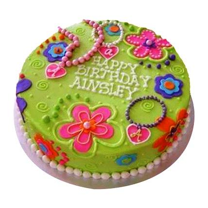 Green Girly Cake 4kg Eggless