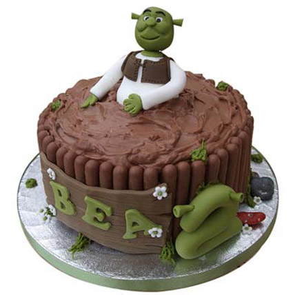 Half Shrek on cake 3kg Eggless