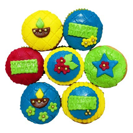 Happy Deepavali Cupcakes 6 Eggless