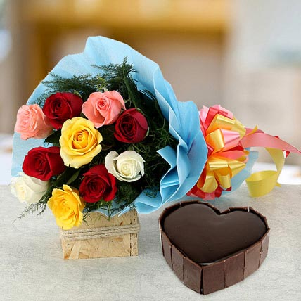 Heart Cake with Roses Combo