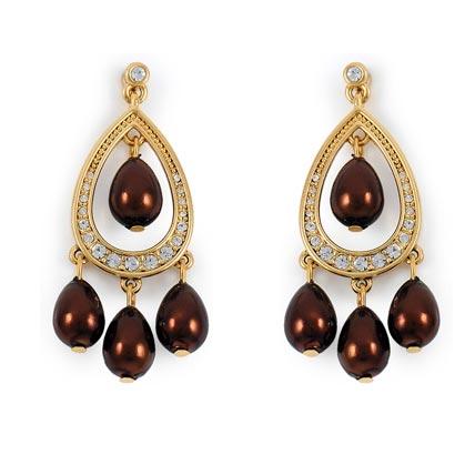 High Efficient Enamel Gold Peacock Plated Earrings
