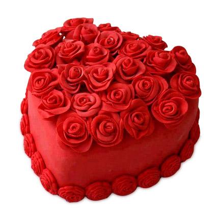 Hot Red Heart Cake 2kg Eggless