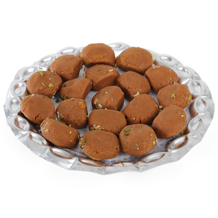 Mathura Peda in Silver Tray