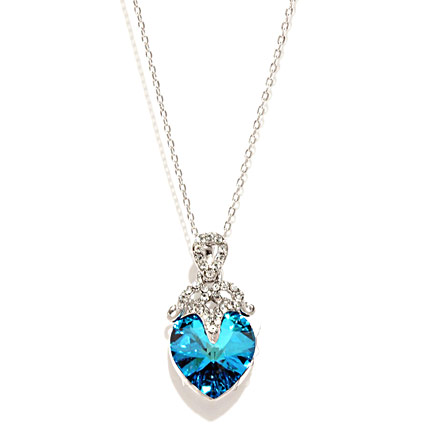Melifa Silver Toned N Blue Crystal Pendant with Chain