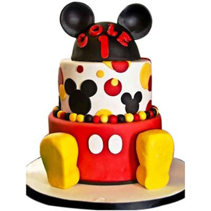 Mickey Mouse 2 tier Cake 5kg Eggless