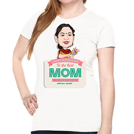 Mom Caricature T shirt with with name printed