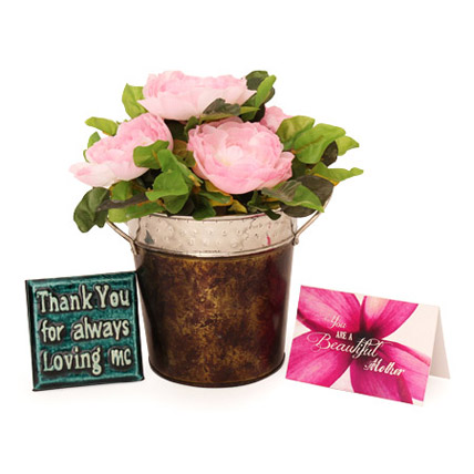 Mother Special Faux Rose Arrangement Hamper