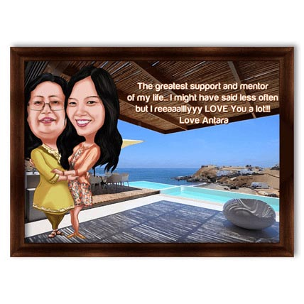 Mothers Day 3D Mom and Daughter Beach Caricature