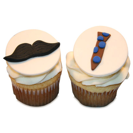 Moustache Tie Cupcakes 24 Eggless
