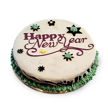 New Year Fondant Cake 2kg Eggless
