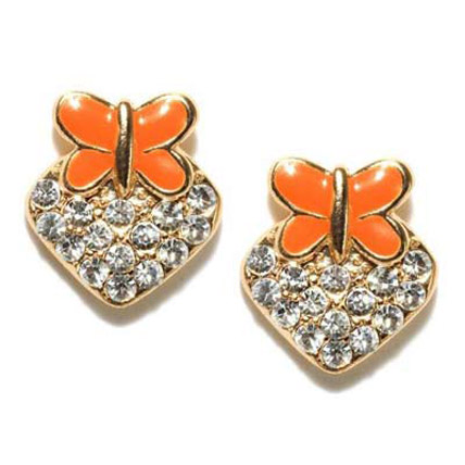 Orange and Gold Plated Earrings