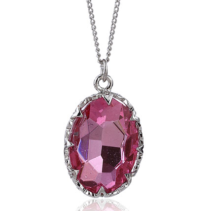 Pink and Silver Plated Pendant with Chain