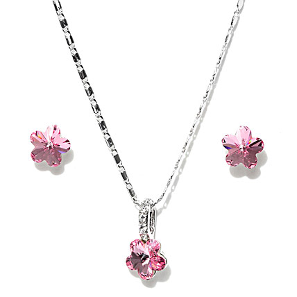 Pink and Silver Plated Swarovski Jewellery Set