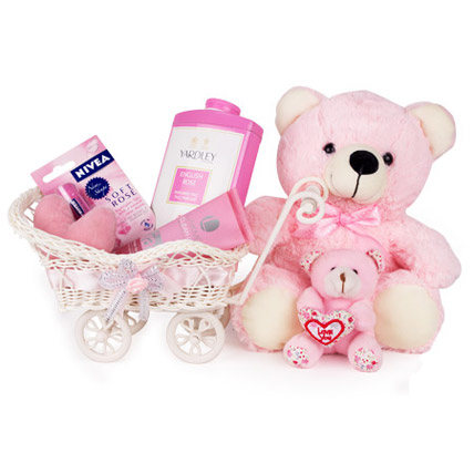 Pink Cart Of Care Hamper