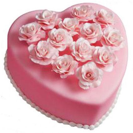 Pink Heart Cake 3kg Eggless