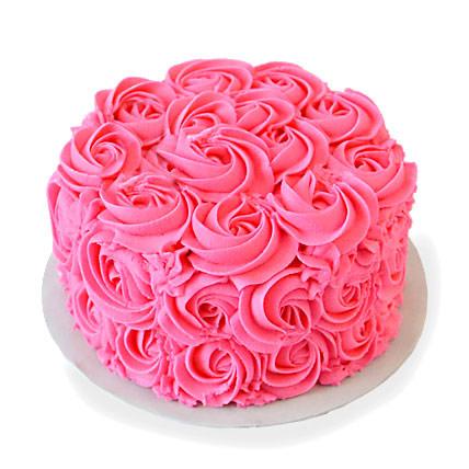 Pink Rose Cake Half kg Eggless